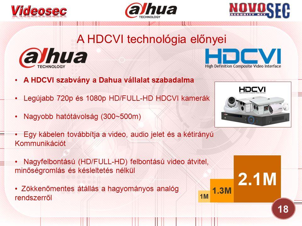 A HDCVI technológia előnyei 18 A HDCVI szabvány a Dahua vállalat szabadalma Legújabb 720p és 1080p HD/FULL-HD HDCVI kamerák Nagyobb hatótávolság (300~500m) Egy kábelen továbbítja a video, audio jelet és a kétirányú Kommunikációt Nagyfelbontású (HD/FULL-HD) felbontású video átvitel, minőségromlás és késleltetés nélkül Zökkenőmentes átállás a hagyományos analóg rendszerről