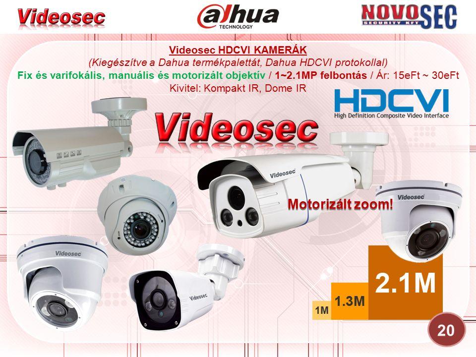 Videosec HDCVI KAMERÁK (Kiegészítve a Dahua termékpalettát, Dahua HDCVI protokollal) Fix és varifokális, manuális és motorizált objektív / 1~2.1MP fel