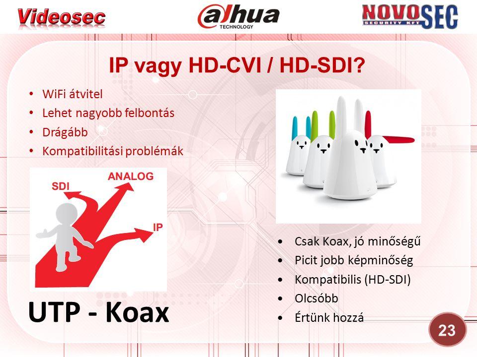 23 IP vagy HD-CVI / HD-SDI? WiFi átvitel Lehet nagyobb felbontás Drágább Kompatibilitási problémák Csak Koax, jó minőségű Picit jobb képminőség Kompat