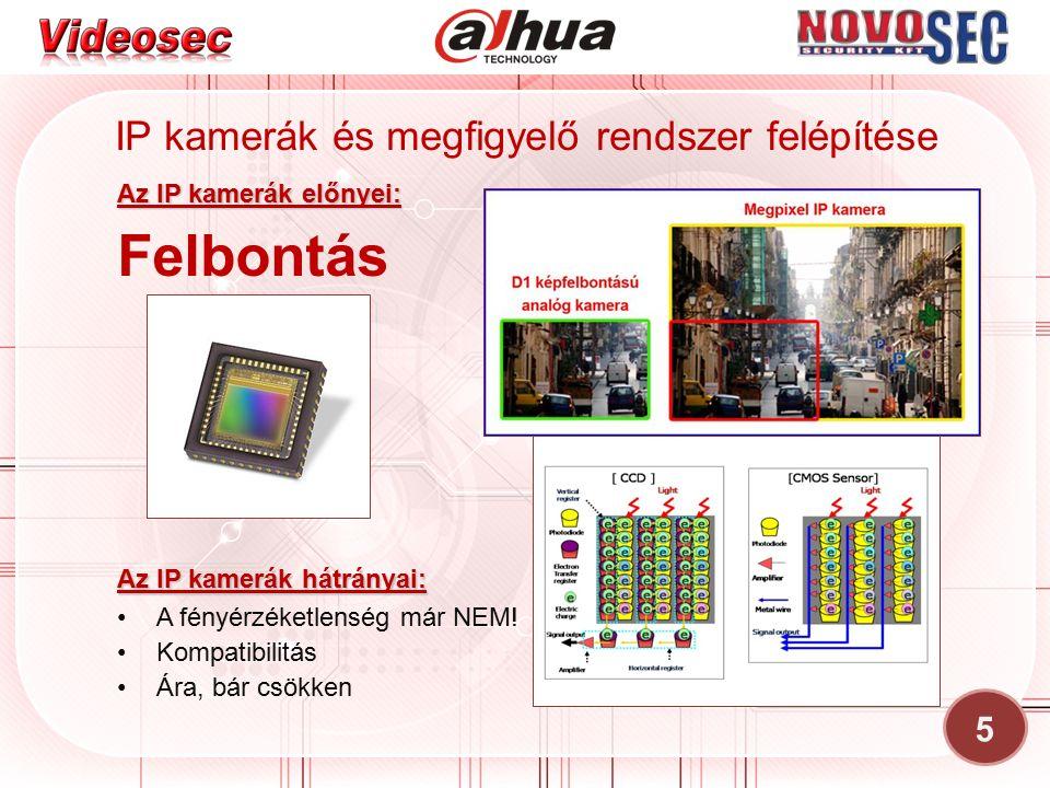 5 IP kamerák és megfigyelő rendszer felépítése Az IP kamerák előnyei: Felbontás A fényérzéketlenség már NEM! Kompatibilitás Ára, bár csökken Az IP kam