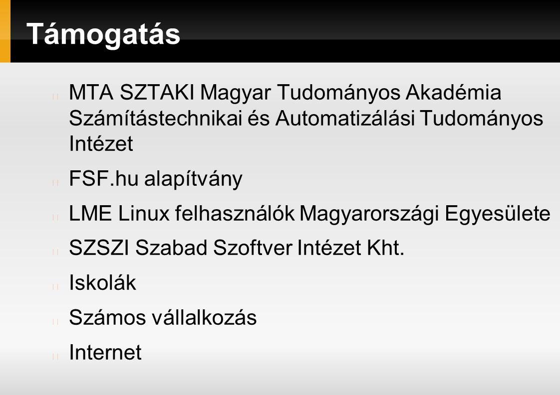 Támogatás MTA SZTAKI Magyar Tudományos Akadémia Számítástechnikai és Automatizálási Tudományos Intézet FSF.hu alapítvány LME Linux felhasználók Magyarországi Egyesülete SZSZI Szabad Szoftver Intézet Kht.