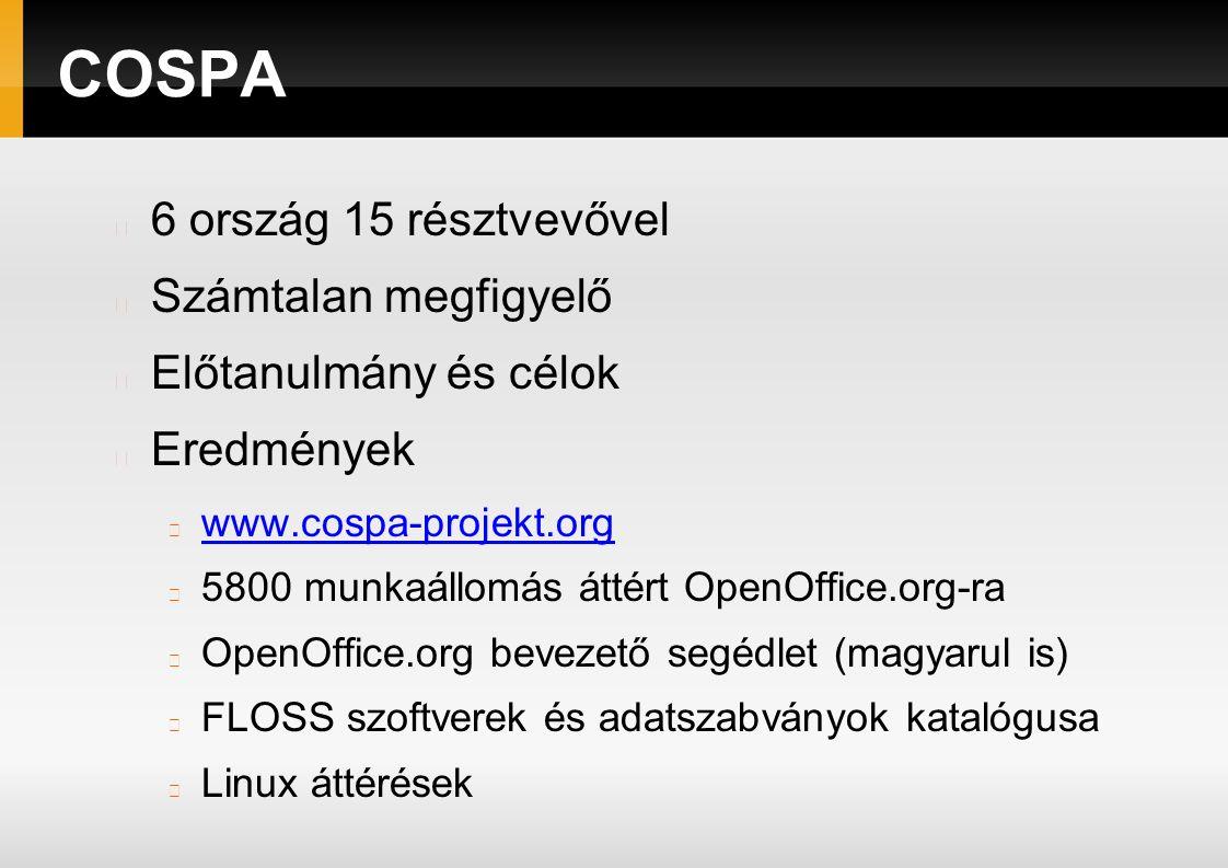 COSPA 6 ország 15 résztvevővel Számtalan megfigyelő Előtanulmány és célok Eredmények www.cospa-projekt.org 5800 munkaállomás áttért OpenOffice.org-ra OpenOffice.org bevezető segédlet (magyarul is) FLOSS szoftverek és adatszabványok katalógusa Linux áttérések