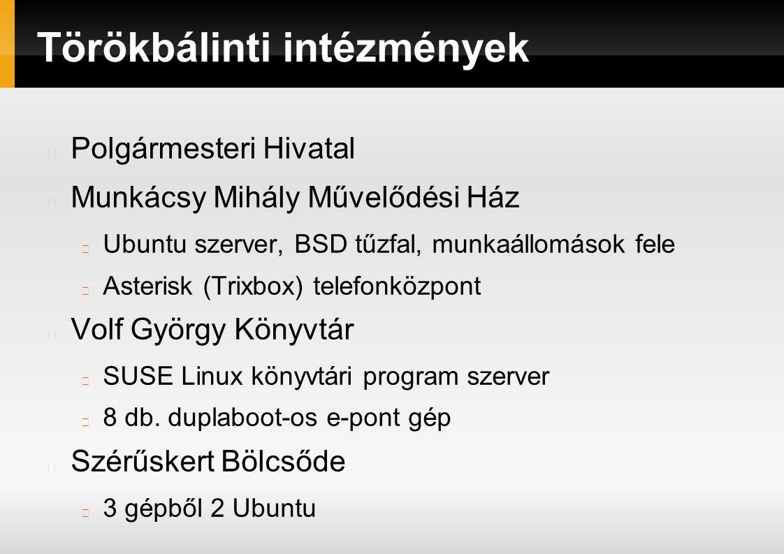 Törökbálinti intézmények Polgármesteri Hivatal Munkácsy Mihály Művelődési Ház Ubuntu szerver, BSD tűzfal, munkaállomások fele Asterisk (Trixbox) telefonközpont Volf György Könyvtár SUSE Linux könyvtári program szerver 8 db.