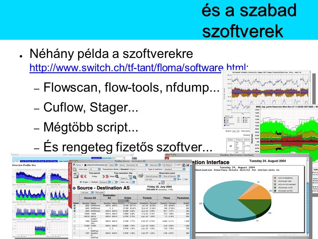 A Netflowés a szabad szoftverek ● Néhány példa a szoftverekre http://www.switch.ch/tf-tant/floma/software.html: http://www.switch.ch/tf-tant/floma/software.html – Flowscan, flow-tools, nfdump...