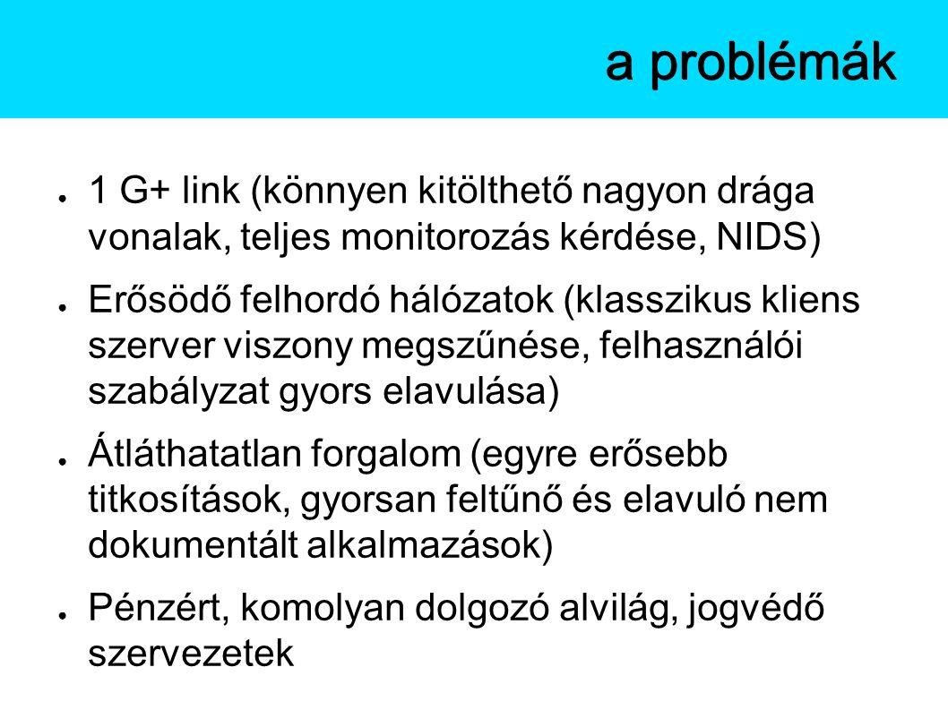 A Netflow a problémák ● 1 G+ link (könnyen kitölthető nagyon drága vonalak, teljes monitorozás kérdése, NIDS) ● Erősödő felhordó hálózatok (klasszikus kliens szerver viszony megszűnése, felhasználói szabályzat gyors elavulása) ● Átláthatatlan forgalom (egyre erősebb titkosítások, gyorsan feltűnő és elavuló nem dokumentált alkalmazások) ● Pénzért, komolyan dolgozó alvilág, jogvédő szervezetek