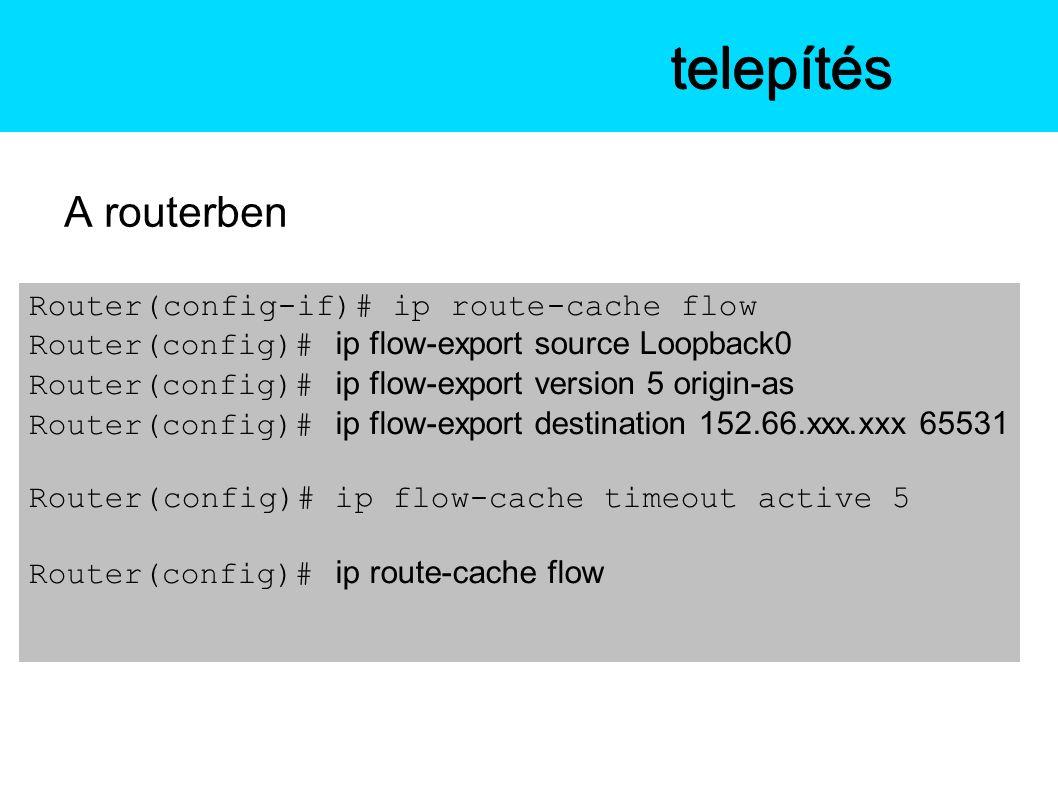 A routerben Az NfSentelepítés Router(config-if)# ip route-cache flow Router(config)# ip flow-export source Loopback0 Router(config)# ip flow-export version 5 origin-as Router(config)# ip flow-export destination 152.66.xxx.xxx 65531 Router(config)# ip flow-cache timeout active 5 Router(config)# ip route-cache flow