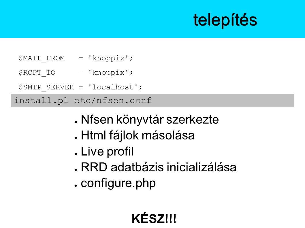 $MAIL_FROM = knoppix ; $RCPT_TO = knoppix ; $SMTP_SERVER = localhost ; ● Nfsen könyvtár szerkezte ● Html fájlok másolása ● Live profil ● RRD adatbázis inicializálása ● configure.php KÉSZ!!.