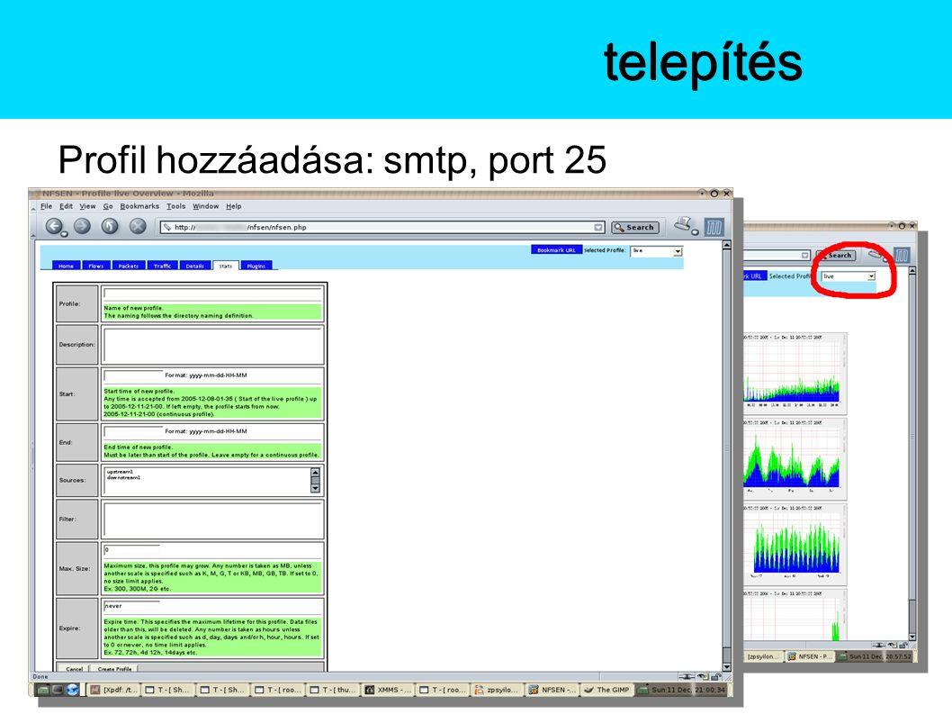 Profil hozzáadása: smtp, port 25 Az NfSentelepítés