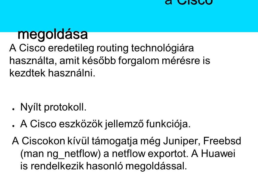 A Netflow A Cisco eredetileg routing technológiára használta, amit később forgalom mérésre is kezdtek használni.
