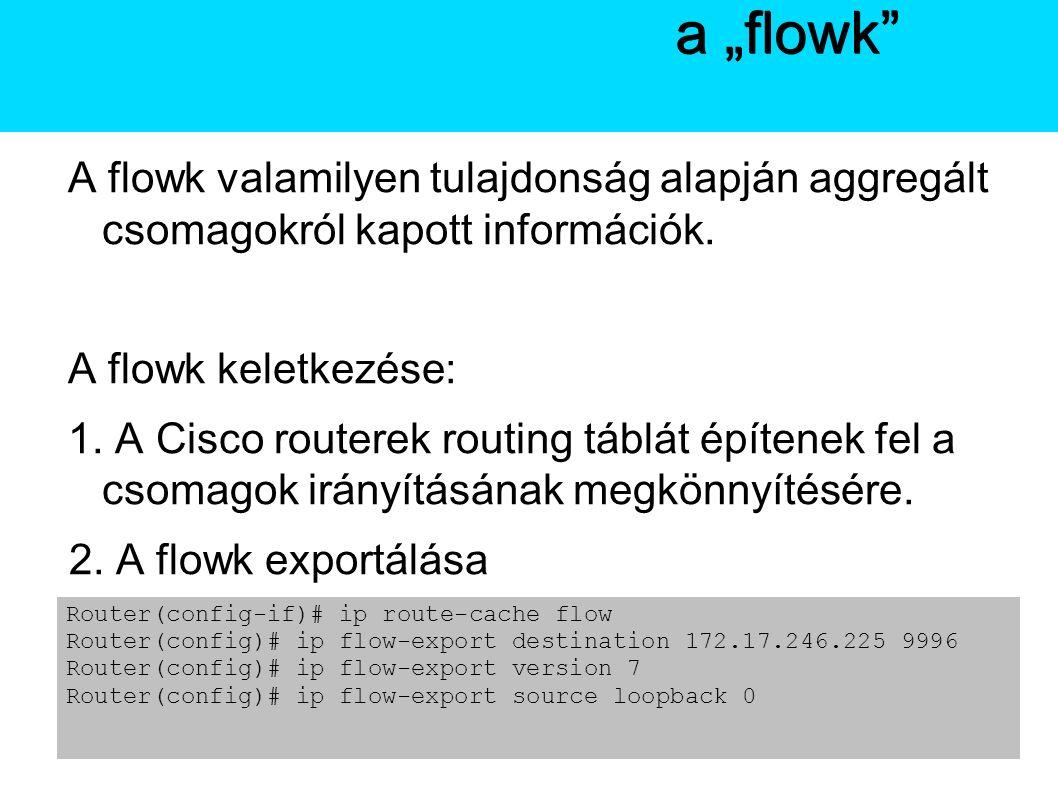 A Netflow A flowk valamilyen tulajdonság alapján aggregált csomagokról kapott információk.