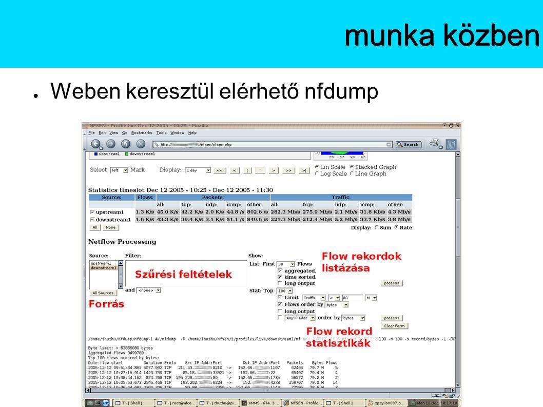 ● Weben keresztül elérhető nfdump Az NfSenmunka közben