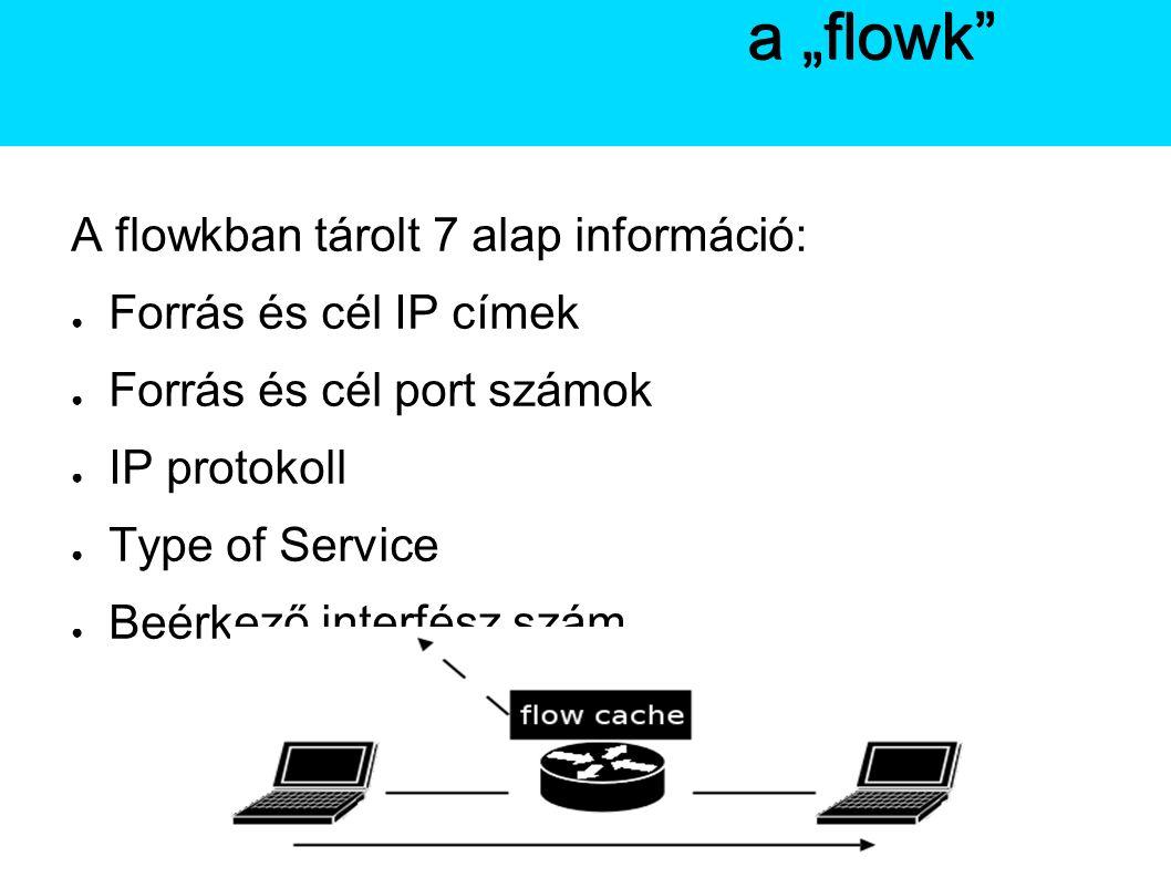 """A Netflow A flowkban tárolt 7 alap információ: ● Forrás és cél IP címek ● Forrás és cél port számok ● IP protokoll ● Type of Service ● Beérkező interfész szám A Netflowa """"flowk"""