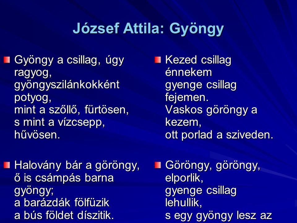 József Attila: Gyöngy Gyöngy a csillag, úgy ragyog, gyöngyszilánkokként potyog, mint a szőllő, fürtösen, s mint a vízcsepp, hűvösen.