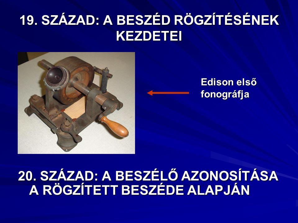 19. SZÁZAD: A BESZÉD RÖGZÍTÉSÉNEK KEZDETEI Edison első fonográfja 20.