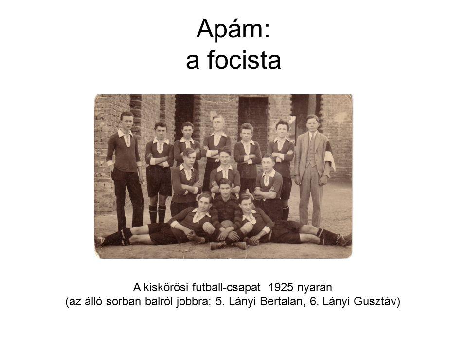 Apám: a focista A kiskőrösi futball-csapat 1925 nyarán (az álló sorban balról jobbra: 5.