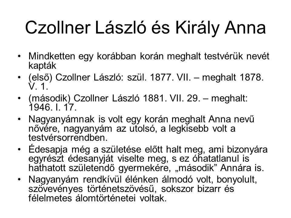 Czollner László és Király Anna Mindketten egy korábban korán meghalt testvérük nevét kapták (első) Czollner László: szül.