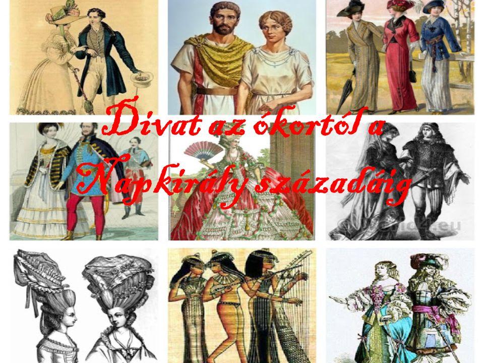 Ókor Az ókorban a ruhával szemben támasztott fő követelmény annak használhatósága, kényelme volt, kultúránként találkozhatunk azonban jellegzetes kiegészítőkkel.