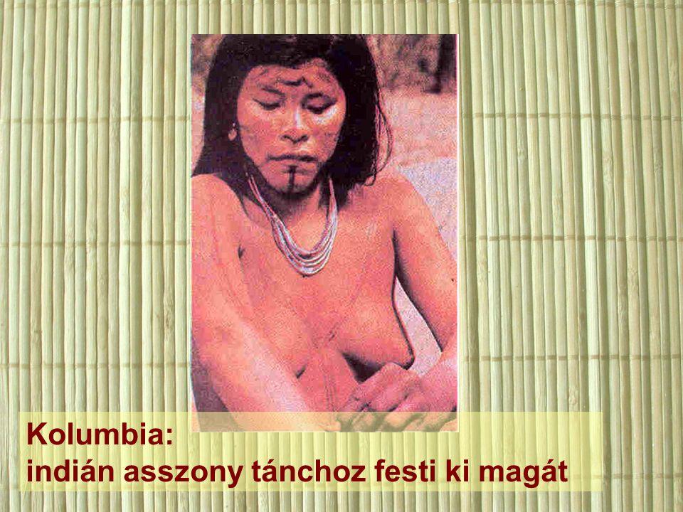 Kolumbia: indián asszony tánchoz festi ki magát