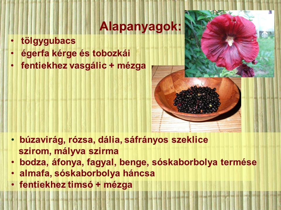 Alapanyagok: tölgygubacs égerfa kérge és tobozkái fentiekhez vasgálic + mézga búzavirág, rózsa, dália, sáfrányos szeklice szirom, mályva szirma bodza, áfonya, fagyal, benge, sóskaborbolya termése almafa, sóskaborbolya háncsa fentiekhez timsó + mézga