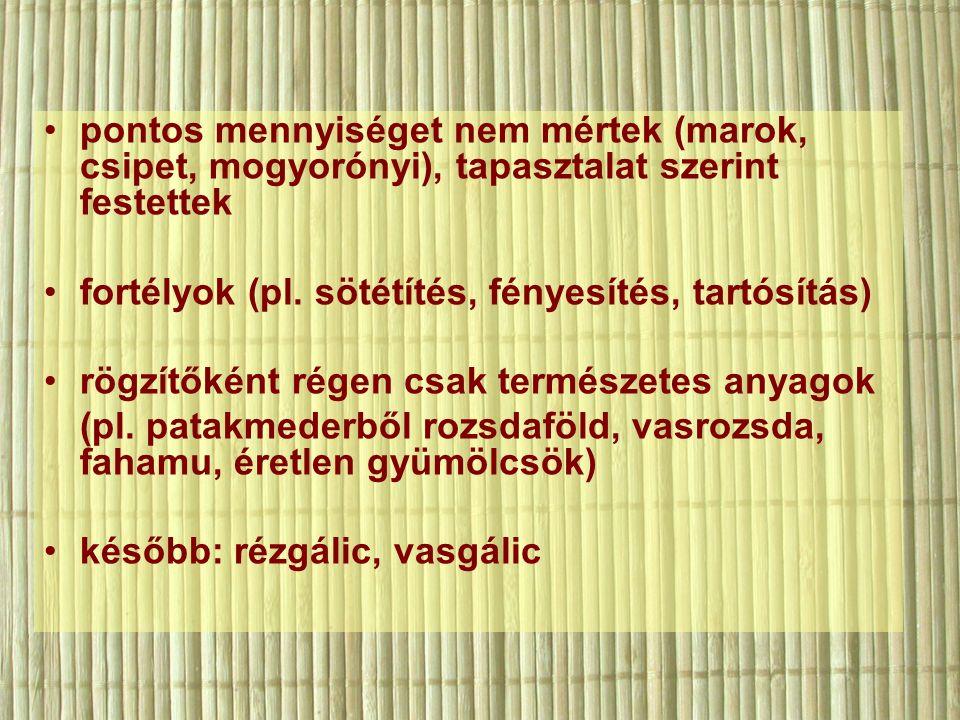 pontos mennyiséget nem mértek (marok, csipet, mogyorónyi), tapasztalat szerint festettek fortélyok (pl.