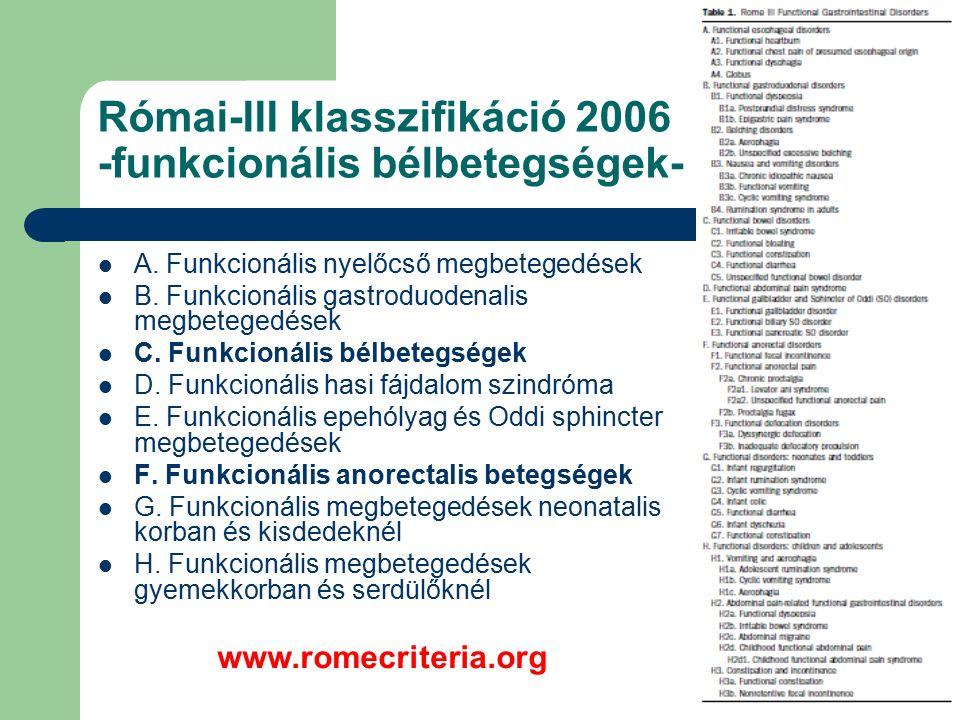 Római-III klasszifikáció 2006 -funkcionális bélbetegségek- A.