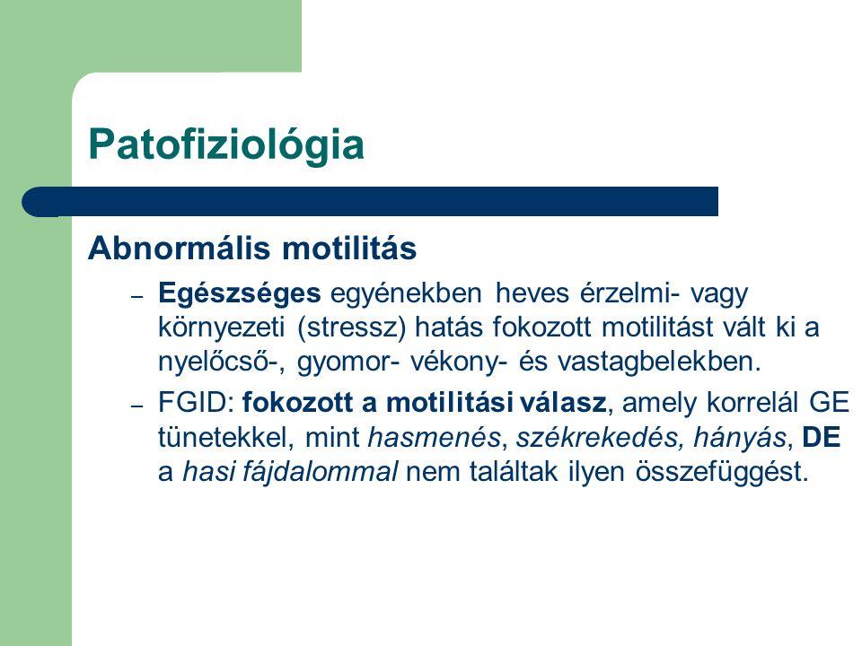 Patofiziológia Abnormális motilitás – Egészséges egyénekben heves érzelmi- vagy környezeti (stressz) hatás fokozott motilitást vált ki a nyelőcső-, gyomor- vékony- és vastagbelekben.