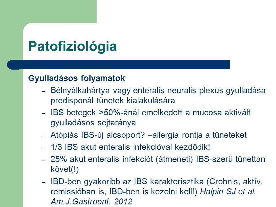 Patofiziológia Gyulladásos folyamatok – Bélnyálkahártya vagy enteralis neuralis plexus gyulladása predisponál tünetek kialakulására – IBS betegek >50%-ánál emelkedett a mucosa aktivált gyulladásos sejtaránya – Atópiás IBS-új alcsoport.