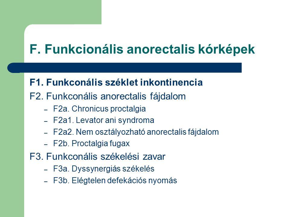F. Funkcionális anorectalis kórképek F1. Funkconális széklet inkontinencia F2.