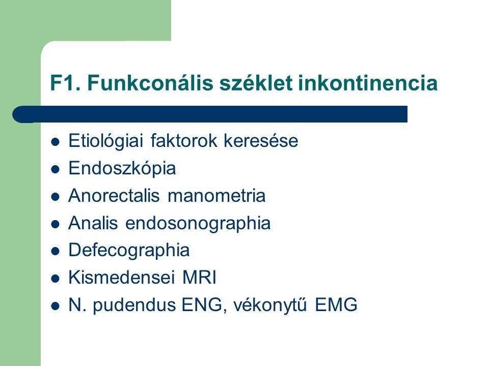 F1. Funkconális széklet inkontinencia Etiológiai faktorok keresése Endoszkópia Anorectalis manometria Analis endosonographia Defecographia Kismedensei