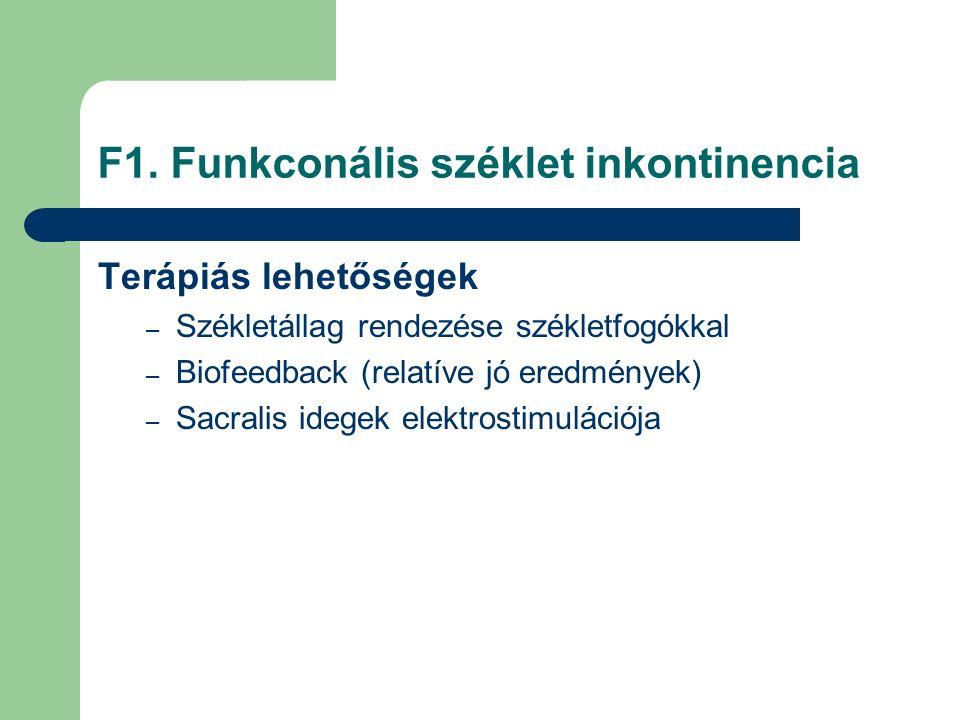 F1. Funkconális széklet inkontinencia Terápiás lehetőségek – Székletállag rendezése székletfogókkal – Biofeedback (relatíve jó eredmények) – Sacralis