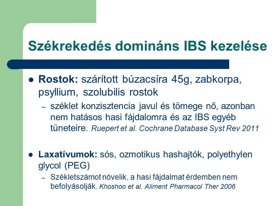 Székrekedés domináns IBS kezelése Rostok: szárított búzacsíra 45g, zabkorpa, psyllium, szolubilis rostok – széklet konzisztencia javul és tömege nő, azonban nem hatásos hasi fájdalomra és az IBS egyéb tüneteire.
