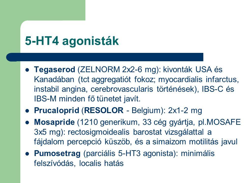 5-HT4 agonisták Tegaserod (ZELNORM 2x2-6 mg): kivonták USA és Kanadában (tct aggregatiót fokoz; myocardialis infarctus, instabil angina, cerebrovascularis történések), IBS-C és IBS-M minden fő tünetet javít.
