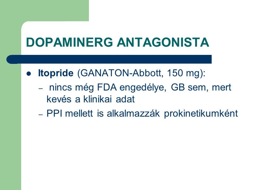 DOPAMINERG ANTAGONISTA Itopride (GANATON-Abbott, 150 mg): – nincs még FDA engedélye, GB sem, mert kevés a klinikai adat – PPI mellett is alkalmazzák prokinetikumként