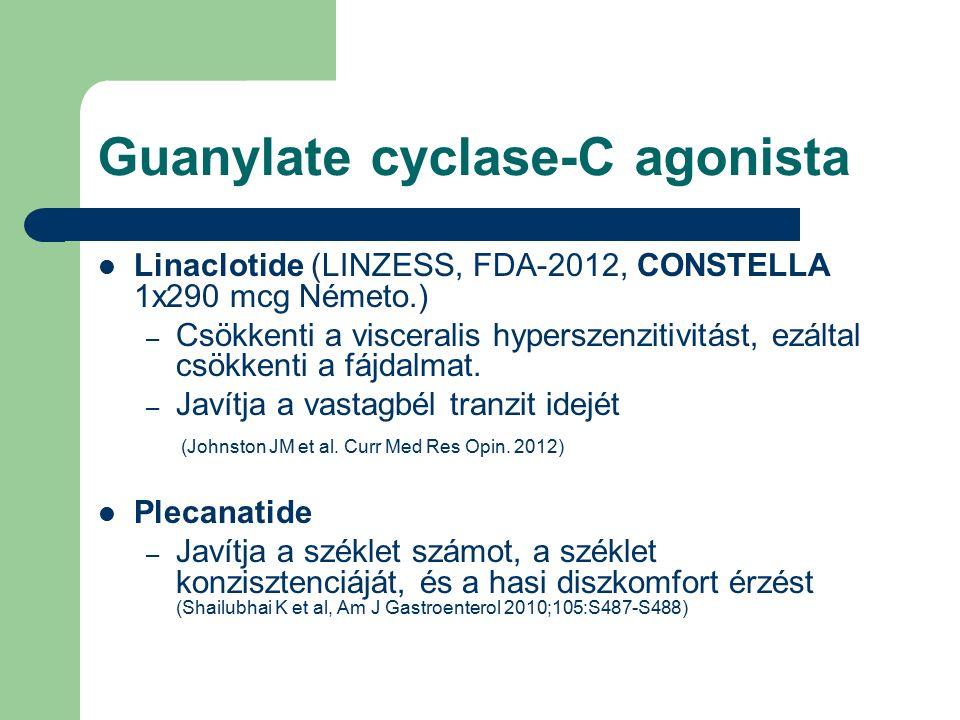 Guanylate cyclase-C agonista Linaclotide (LINZESS, FDA-2012, CONSTELLA 1x290 mcg Németo.) – Csökkenti a visceralis hyperszenzitivitást, ezáltal csökkenti a fájdalmat.
