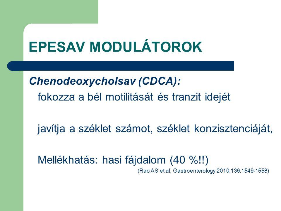 EPESAV MODULÁTOROK Chenodeoxycholsav (CDCA): fokozza a bél motilitását és tranzit idejét javítja a széklet számot, széklet konzisztenciáját, Mellékhatás: hasi fájdalom (40 %!!) (Rao AS et al, Gastroenterology 2010;139:1549-1558)