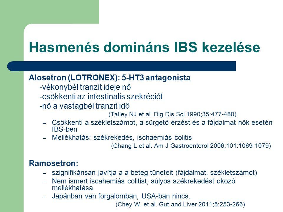 Hasmenés domináns IBS kezelése Alosetron (LOTRONEX): 5-HT3 antagonista -vékonybél tranzit ideje nő -csökkenti az intestinalis szekréciót -nő a vastagbél tranzit idő (Talley NJ et al.