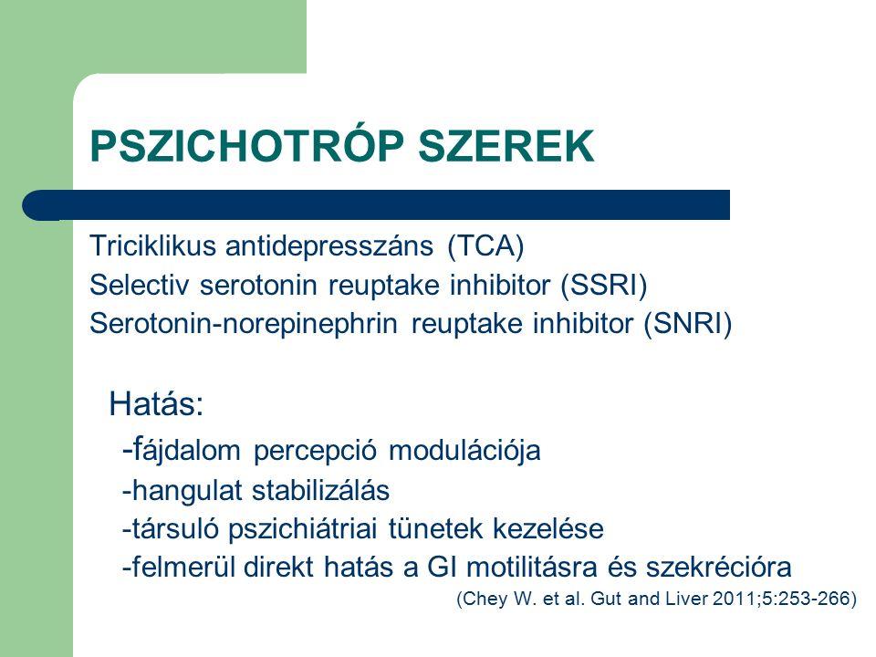 PSZICHOTRÓP SZEREK Triciklikus antidepresszáns (TCA) Selectiv serotonin reuptake inhibitor (SSRI) Serotonin-norepinephrin reuptake inhibitor (SNRI) Hatás: -f ájdalom percepció modulációja -hangulat stabilizálás -társuló pszichiátriai tünetek kezelése -felmerül direkt hatás a GI motilitásra és szekrécióra (Chey W.
