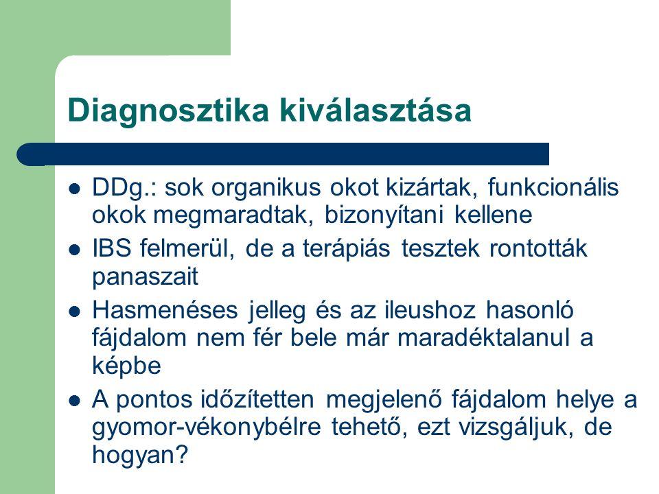 Diagnosztika kiválasztása DDg.: sok organikus okot kizártak, funkcionális okok megmaradtak, bizonyítani kellene IBS felmerül, de a terápiás tesztek rontották panaszait Hasmenéses jelleg és az ileushoz hasonló fájdalom nem fér bele már maradéktalanul a képbe A pontos időzítetten megjelenő fájdalom helye a gyomor-vékonybélre tehető, ezt vizsgáljuk, de hogyan