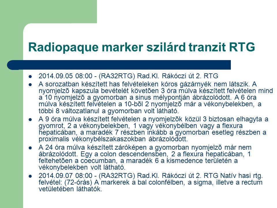 Radiopaque marker szilárd tranzit RTG 2014.09.05 08:00 - (RA32RTG) Rad.Kl.
