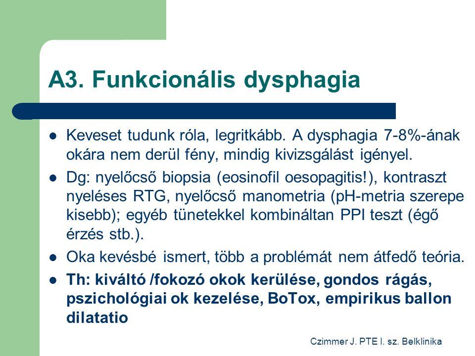 Czimmer J. PTE I. sz. Belklinika A3. Funkcionális dysphagia Keveset tudunk róla, legritkább.
