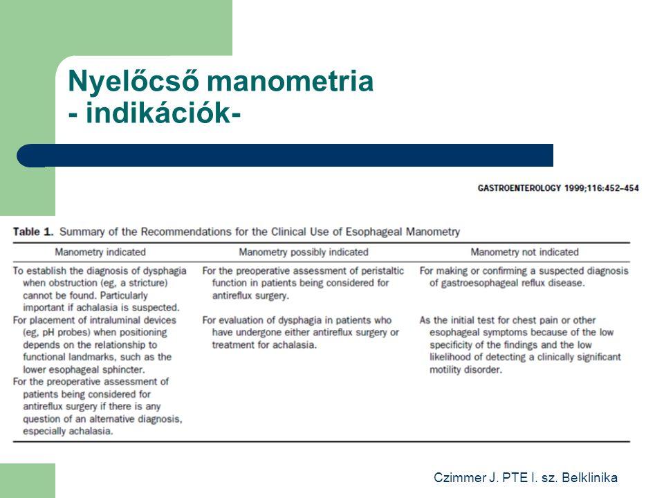 Czimmer J. PTE I. sz. Belklinika Nyelőcső manometria - indikációk-