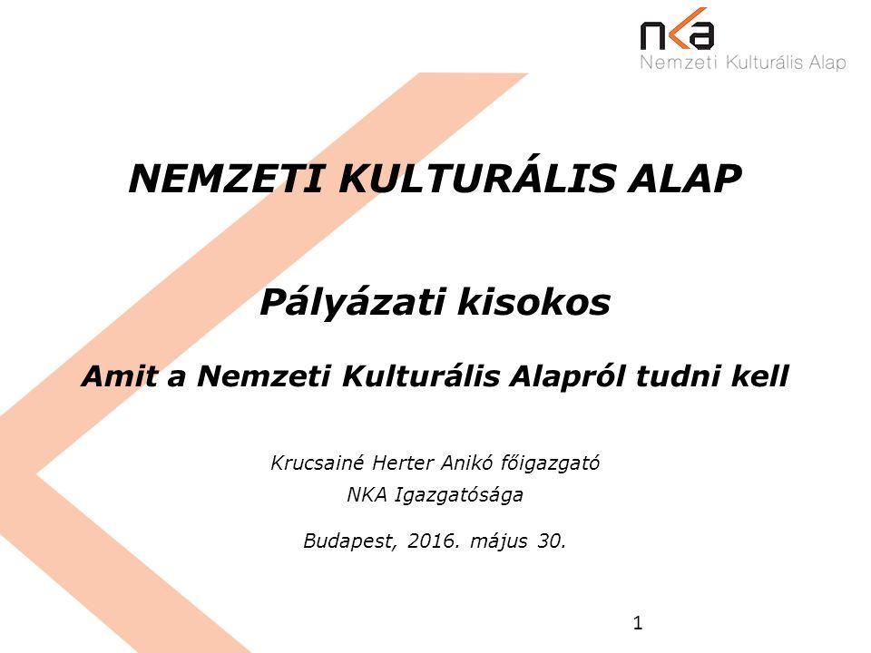1 NEMZETI KULTURÁLIS ALAP Pályázati kisokos Amit a Nemzeti Kulturális Alapról tudni kell Krucsainé Herter Anikó főigazgató NKA Igazgatósága Budapest,