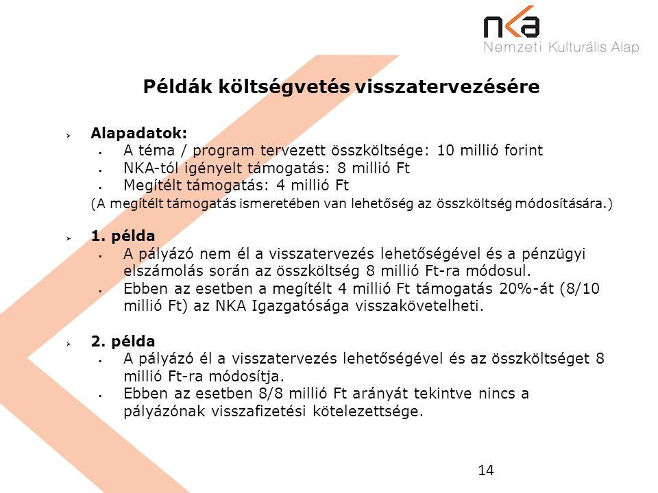 14 Példák költségvetés visszatervezésére  Alapadatok:  A téma / program tervezett összköltsége: 10 millió forint  NKA-tól igényelt támogatás: 8 mil