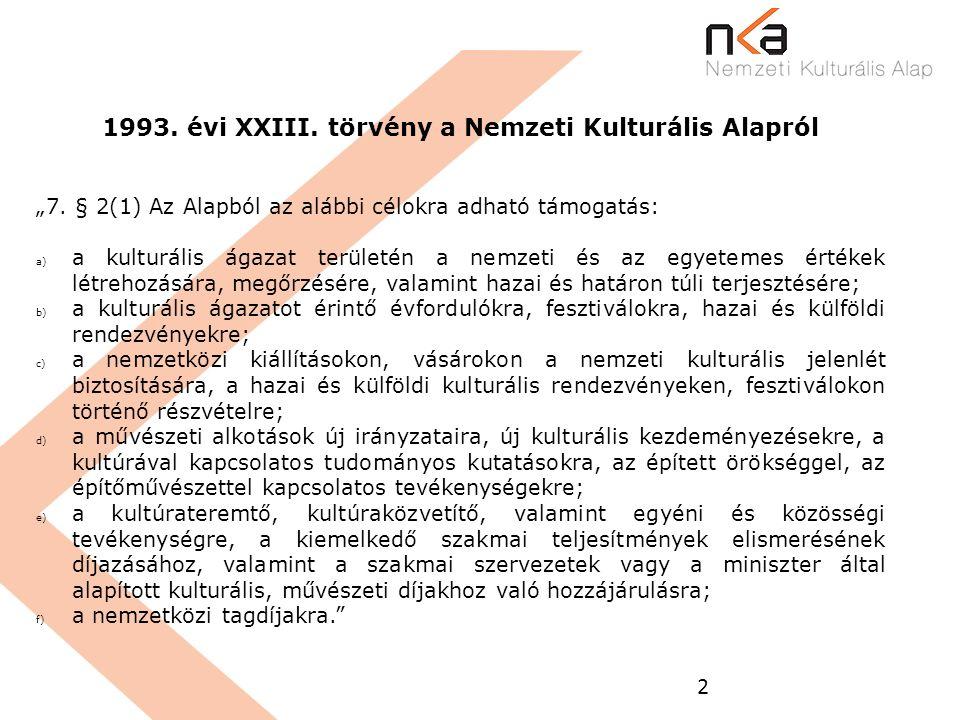 """2 1993. évi XXIII. törvény a Nemzeti Kulturális Alapról """"7. § 2(1) Az Alapból az alábbi célokra adható támogatás: a) a kulturális ágazat területén a n"""