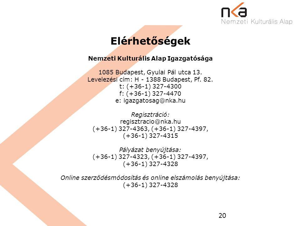 20 Elérhetőségek Nemzeti Kulturális Alap Igazgatósága 1085 Budapest, Gyulai Pál utca 13. Levelezési cím: H - 1388 Budapest, Pf. 82. t: (+36-1) 327-430