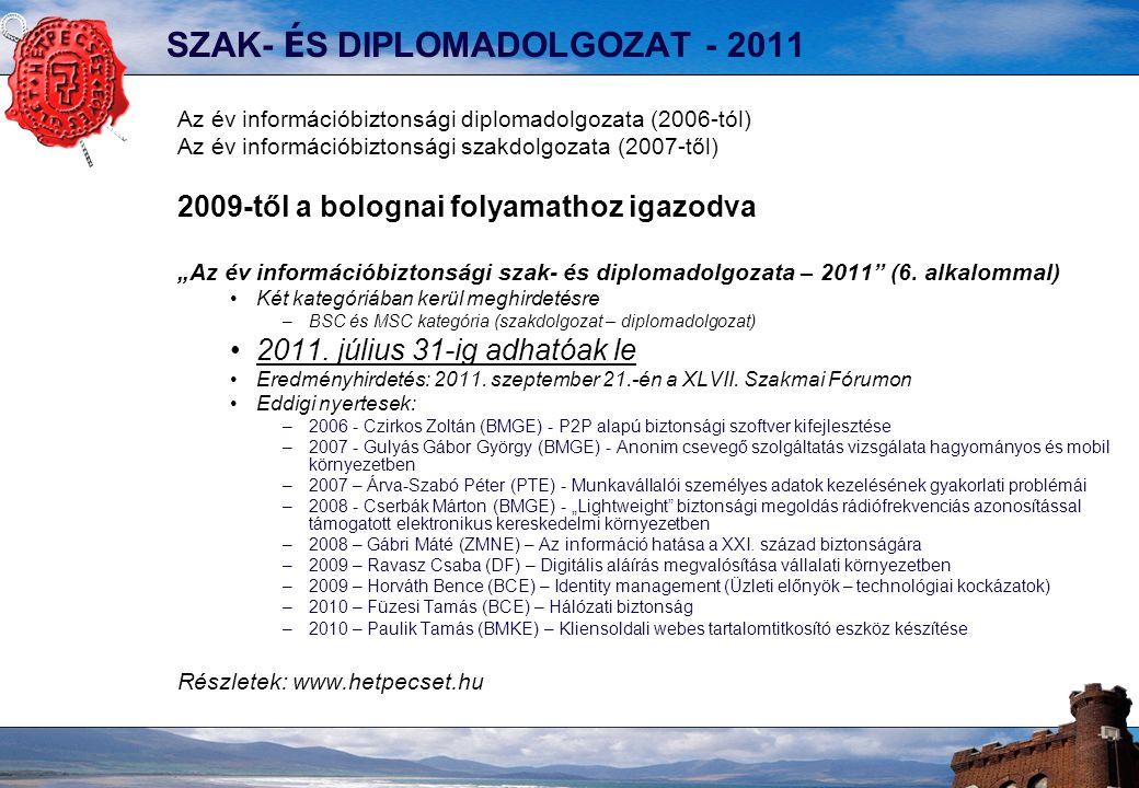 """SZAK- É S DIPLOMADOLGOZAT - 2011 Az év információbiztonsági diplomadolgozata (2006-tól) Az év információbiztonsági szakdolgozata (2007-től) 2009-től a bolognai folyamathoz igazodva """"Az év információbiztonsági szak- és diplomadolgozata – 2011 (6."""