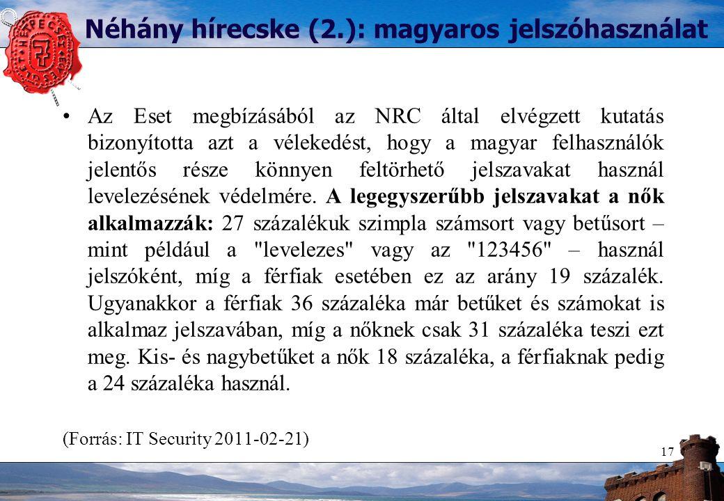 Néhány hírecske (2.): magyaros jelszóhasználat Az Eset megbízásából az NRC által elvégzett kutatás bizonyította azt a vélekedést, hogy a magyar felhasználók jelentős része könnyen feltörhető jelszavakat használ levelezésének védelmére.