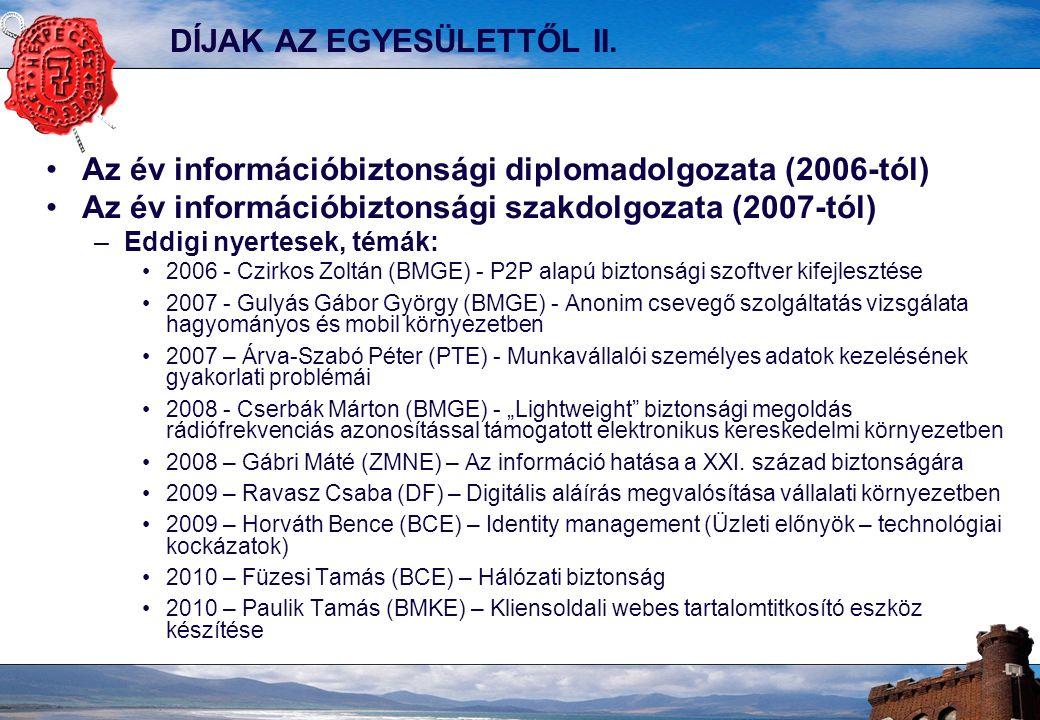DÍJAK AZ EGYESÜLETTŐL II. Az év információbiztonsági diplomadolgozata (2006-tól) Az év információbiztonsági szakdolgozata (2007-tól) –Eddigi nyertesek