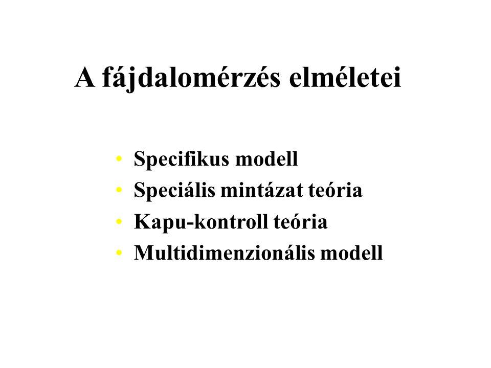 A fájdalomérzés elméletei Specifikus modell Speciális mintázat teória Kapu-kontroll teória Multidimenzionális modell