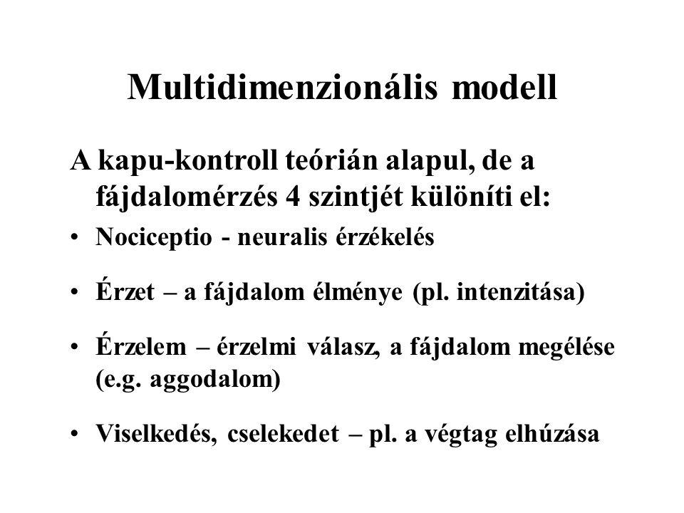 Multidimenzionális modell A kapu-kontroll teórián alapul, de a fájdalomérzés 4 szintjét különíti el: Nociceptio - neuralis érzékelés Érzet – a fájdalom élménye (pl.